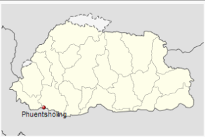 Location of Phuntsholing, Bhutan
