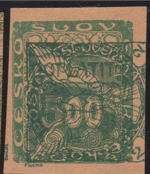 Double Transfer, 2h Newspaper Stamp on 500h Postage Due