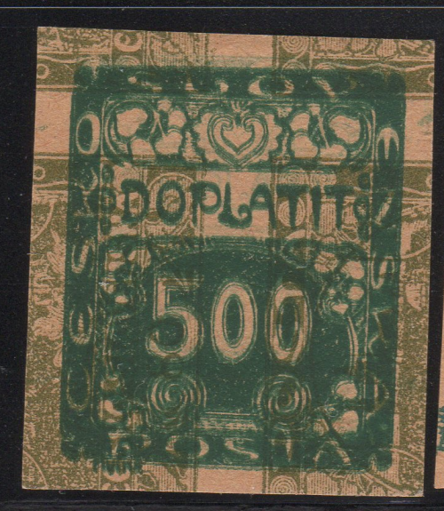 Double Transfer 80h Regular Issue on top of 500h Postage Due