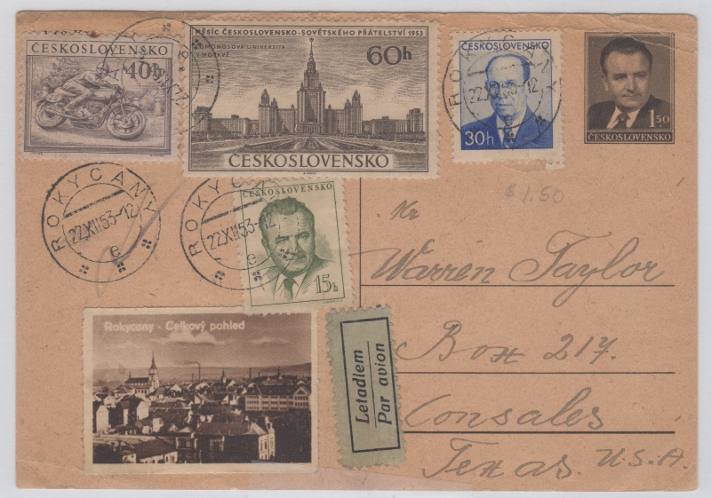 Czechoslovakia Pre-printed postcard with invalid pre-1953 Currency Reform stamp