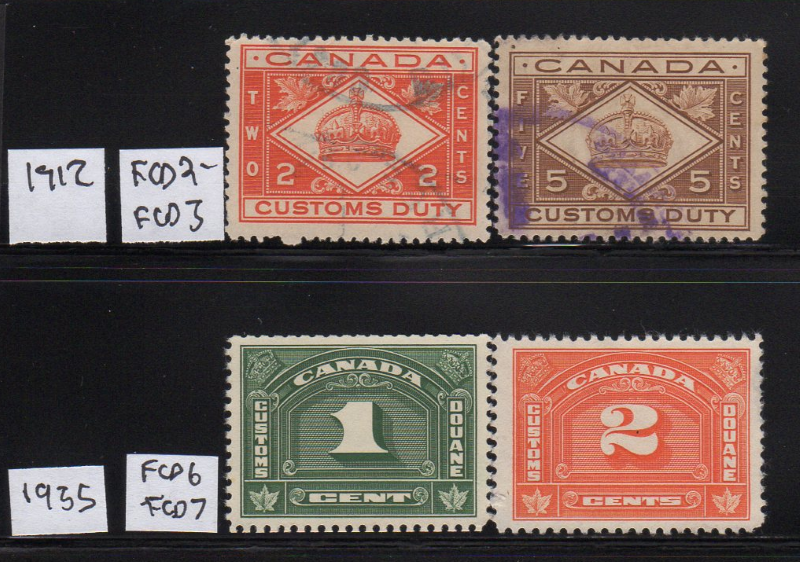 Canada Customs Duty Stamps